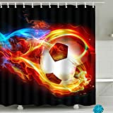"Fire Soccer Bathroom Shower Curtain Sets Waterproof Decor 71"" x 79"" Polyester Fabric"