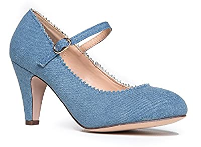 J. Adams Mary Jane Kitten Heels - Vintage Retro Scallop Round Toe Shoe with an Adjustable Strap - Honey