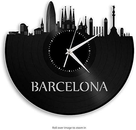 Ayzr Reloj De Pared De Vinilo De Barcelona España City Skyline Hogar Y Oficina|Decoración De La Habitación: Amazon.es: Hogar