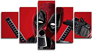 Vansiho Prints 5 Pieces Deadpool Canvas Painting Living Room Home Decoration Canvas art Wall Poster (No Frame) 50inch x30 inch