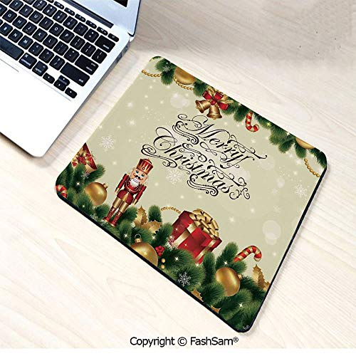 - Personalized 3D Mouse Pad Noel Ornaments with Birch Branch Cute Ribbons Bells Candy Canes Art Image for Laptop Desktop(W9.85xL11.8)