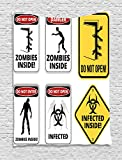 Ambesonne Zombie Decor Tapestry, Warning Signs for Evil Creatures Paranormal Construction Do Not Open Artwork, Wall Hanging for Bedroom Living Room Dorm, 60 W X 80 L Inches, Multicolor