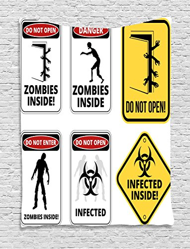 Ambesonne Zombie Decor Tapestry, Warning Signs for Evil Creatures Paranormal Construction Do Not Open Artwork, Wall Hanging for Bedroom Living Room Dorm, 60 W X 80 L Inches, Multicolor by Ambesonne