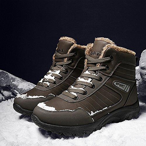 JOYORUN Herren Winterschuhe Wasserdicht Winterstiefel Trekking Wanderschuhe Warm Gefütterte Schneestiefel Outdoor Sneaker Boots Braun