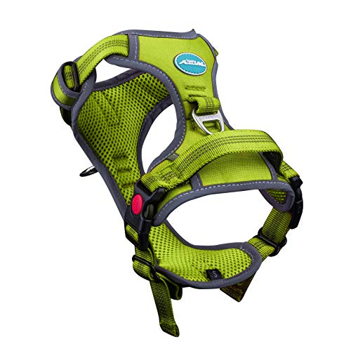 Mesh Sport Harness - ThinkPet No Pull Harness Breathable Sport Harness - Reflective Padded Dog Safety Vest Adjustable Harness, Back/Front Clip for Easy Control XL Green