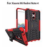 Heartly Xiaomi Mi Redmi Note 4 Shockproof Hybrid Armor Dual Layer Bumper Case With Kickstand - Hot Red