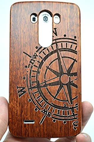 LG G3 Wood Case - Rose Wood Compass - Premium Quality Natural Wooden Case for your Smartphone and Tablet - by (Real Wood Cover For Lg G3)