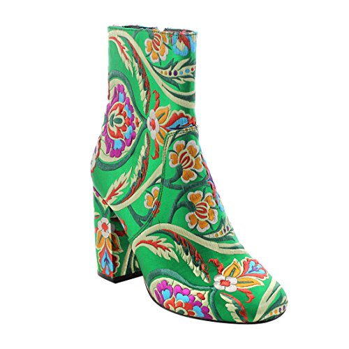 X2b Fj59 Womens Chunky High Heel Floral Embroidery Ankle Booties  Color Green  Size 8