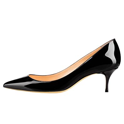 e3096e1a5fb June in Love Women s Black Low Heels Shoes Pointy Toe Daily Pumps Black 5.5  US