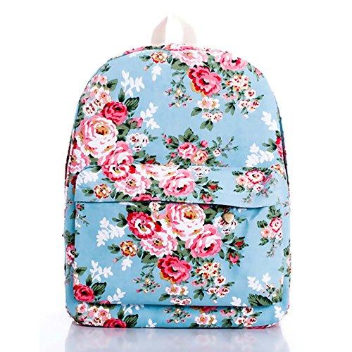 OUFLY Niñas Pastoral impresión a rayas Mochila de impresión floral Mochila de ordenador estudiante Mochila de viaje Mochila Daypack bolso Rosa azul claro y rosado