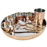 Copper Dinnerware Thali Set for Serving 6 Person Indian Tableware