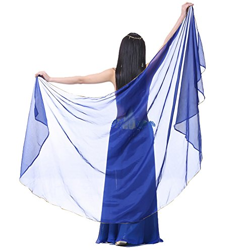 Pilot-trade Women's Chiffon Big Veil Shawl Gold Trim Dark Blue