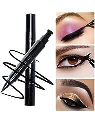 Winged Eyeliner Stamp Waterproof Long Lasting Liquid Eyeliner Pen Smudgeproof Eye Makeup Seal Stamp Tool for Wing or Cat Eye - Black