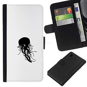 Protector de cuero de la PU de la cubierta del estilo de la carpeta del tirón BY RAYDREAMMM - Sony Xperia Z1 L39 - Jelly Fish B & W