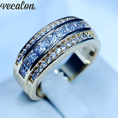 (Jewelry Wedding Band Rings for Men 3mm Zircon Cz 10kt Yellow Gold Filled Male Party Finger Ring)
