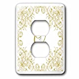 3dRose Uta Naumann Personal Monogram Initials - Letter Q Personal Luxury Vintage Glitter Monogram-Personalized Initial - Light Switch Covers - 2 plug outlet cover (lsp_275316_6)
