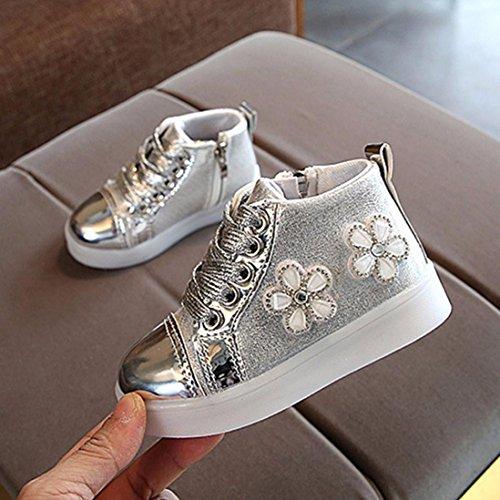 IGEMY Kinder Mädchen LED leuchten leuchtende Turnschuhe Schuhe (23, Silber) Silber