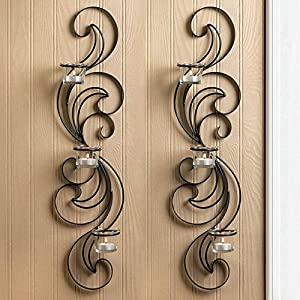 Wisp Candle Wall Sconce Set Of 2 Graceful Curves Black Metal