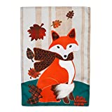 Evergreen Autumn Fox Outdoor Safe Double-Sided Linen Garden Flag, 12.5 x 18 inches