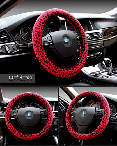 Winter Short nap Diameter 15 inch rubber Plush leopard print Car Steering wheel cover for Car decoration accessories for Women Red ()