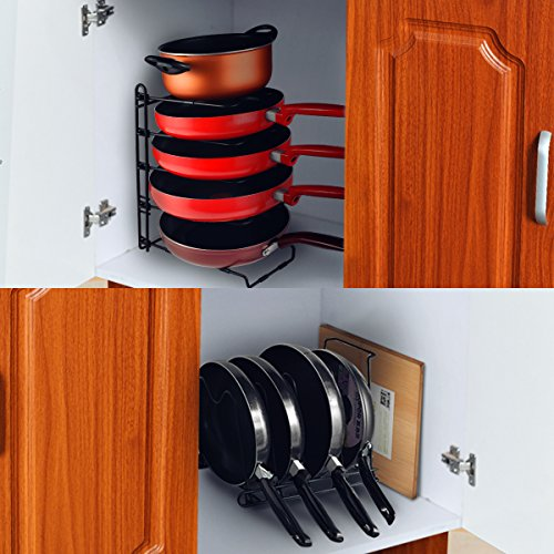 SHMEIQI Heavy Duty Pan Pot Lid Organizer Rack Holder Cabinet, Pantry, Countertop, Cupboard - Adjustable Compartments by SHMEIQI (Image #5)