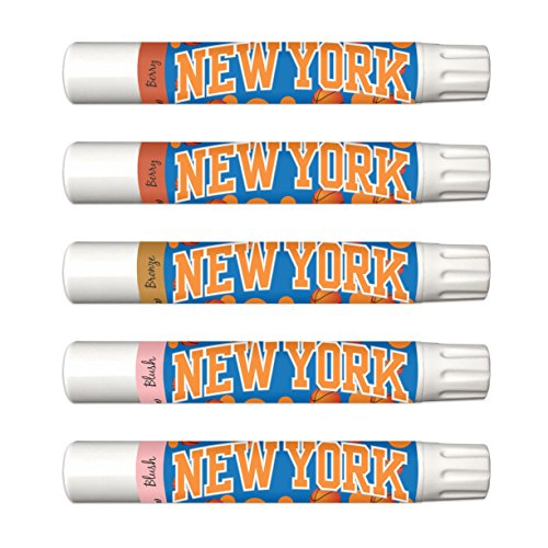 NBA New York Knicks 5-Piece Shimmer Lip Balm Set. 3 Different Shades-Add That Pop of Color: Blush, Bronze, Berry. NBA Gifts for Mother's Day, Easter, Stocking Stuffers, Birthdays]()