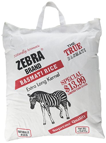 Naturally Aromatic Zebra Basmati Rice Extra Long Kernel 10 Lb Bag - NET WT 10 lbs by Zebra