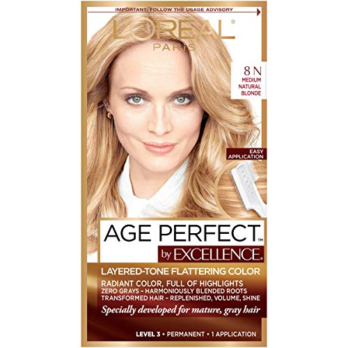 L'Oreal Paris ExcellenceAge Perfect Layered Tone Flattering Color, 8N Medium Natural Blonde -  L'Oreal Paris Hair Color, K1827300