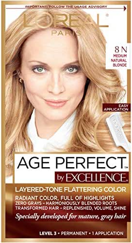 L'Oreal Paris ExcellenceAge Perfect Layered Tone Flattering Color, 8N Medium Natural Blonde (Packaging May Vary)