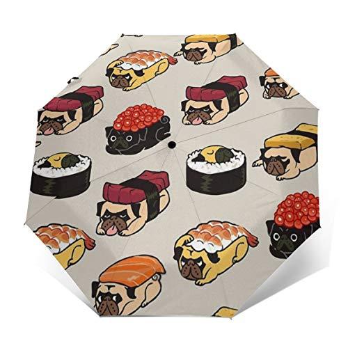 Enjeolon Auto Folding Umbrellas Sushi Pug Funny Portable Foldable Umbrella Sun Rain Umbrella