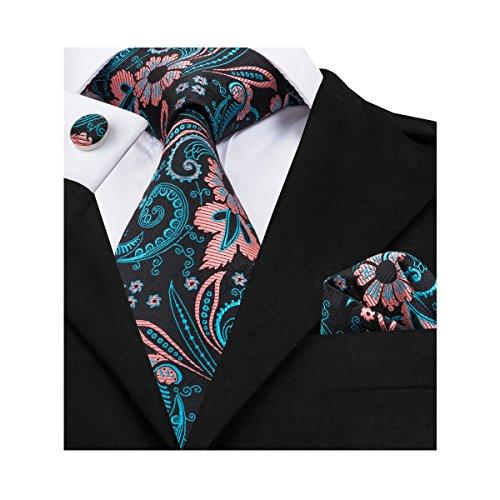 Hi-Tie Black Pink Blue Floral Jacquard Woven Silk Tie Necktie Set for Men