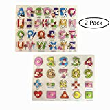 Pegged Puzzle Wooden Puzzle-Citmage Alphabet & Numbers Learning Puzzles Preschool Education for Kids Ages 2 and up Colorful (2 Pack)