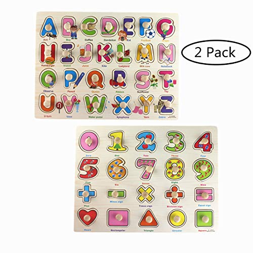 Pegged Puzzle Wooden Puzzle-Citmage Alphabet & Numbers Learning Puzzles Preschool Education for Kids Ages 2 and up Colorful (2 Pack) by Citmage