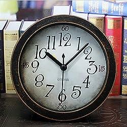 5 inch Black Analog Table Clock Arabic numbers Vintage Wood Pattern Silent Non-ticking Quartz Desk Clock Alarm Clock Round Desk Clocks 3D Clock