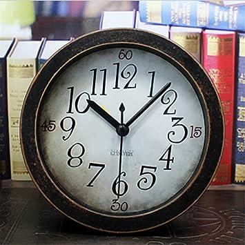 Superb 5 Inch Black Analog Table Clock Arabic Numbers Vintage Wood Pattern Silent  Non Ticking Quartz