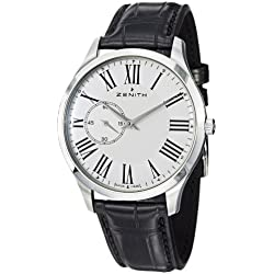 Zenith Men's 032010681.11C Elite Ultra Thin Black Leather Strap Watch