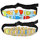 HULISEN 2Pcs Baby Carseat Head Support, Carseat Straps Pillow Support Band, Slumber Sling, Car Seat Sleep Positioner for Toddler Infants (Blue)
