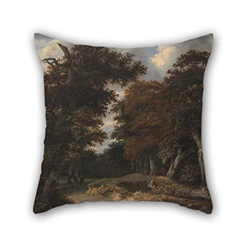 beeyoo Pillow Cases of Oil Painting Jacob Isaacksz. Van Ruisdael - Road Through an Oak Forest for Girls Divan Valentine Outdoor Him Drawing Room 20 X 20 Inches / 50 by 50 cm(Two Sides)
