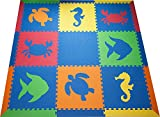 SoftTiles- Kids Foam Playmat- Sea Animals- Interlocking Foam Mats for Children's Playrooms and Baby Nursery- Blue, Red, Orange, Yellow, Lime (6.5' x6.5') SCSEABROYL
