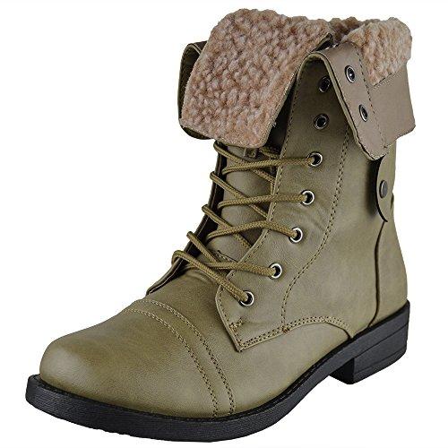 Botas A Media Pierna Para Mujer Dobladas Sobre Piel De Puño Forradas Zapatos De Combate Con Cordones De Taupe