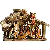Juego de pesebres navideños de la vida real de BRUBAKER - Decoración navideña - Estable con 11 estatuillas de resina (no reajustables) - Diseñado en Alemania - Paquete revisado