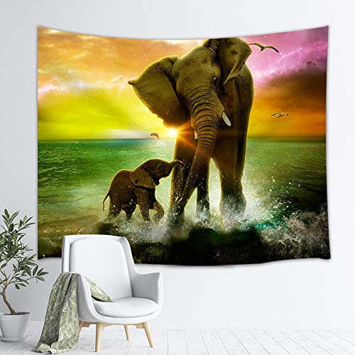 Animal Safari Wall Hangings - NYMB Africa Elephant Tapestry Safari Art, Animal and Baby Playing in Ocean at Sunrise, Wall Hanging Hippie Tapestries for Bedroom Living Room Dorm TV Backdrop Beach Blanket 3D Print 60X40 Inches