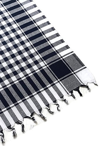 Tablecloth black plaid linen tablecloth dinner summer picnic throw blanket table cover gingham check buffalo bohemian cotton buffalo gingham checkered seats 2-4 people 55x55 inch black and off white (Check White Pink Gingham)