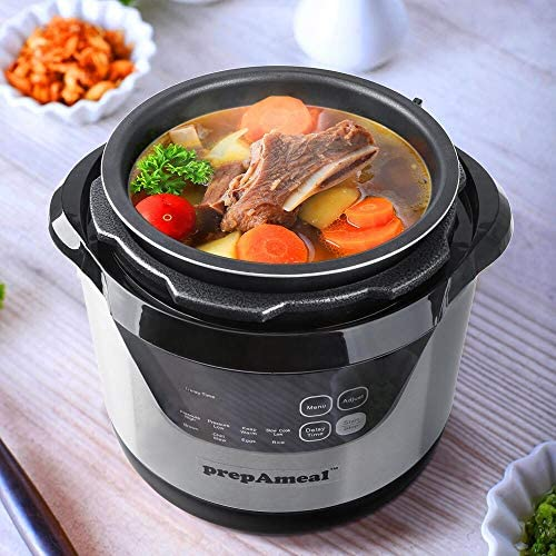 prepAmeal 3 Quart Electric Pressure Cooker with Accessories 8-IN-1 Multi-Use Programmable Instant Cooker Electric Pressure Pot with High & Low Pressure Cooker, Slow Cooker, Rice Cooker, Steamer, Sauté, Brown and Warmer