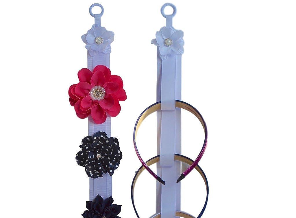 ヘアアクセサリーWall Hanging Holder WithホワイトJeweledパールフラワーby Funny Girl Designs  Matching Set - White B01JGYC1J8