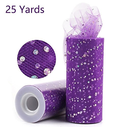 Glitter Sequin Tulle Roll Tutu Fabric Tutu Skirt Laser DIY Craft Supplies Organizer for Kid Decoration for Wedding Party Gold DIY Tutus for Baby Girls 6 inch 25 Yards (Plum)