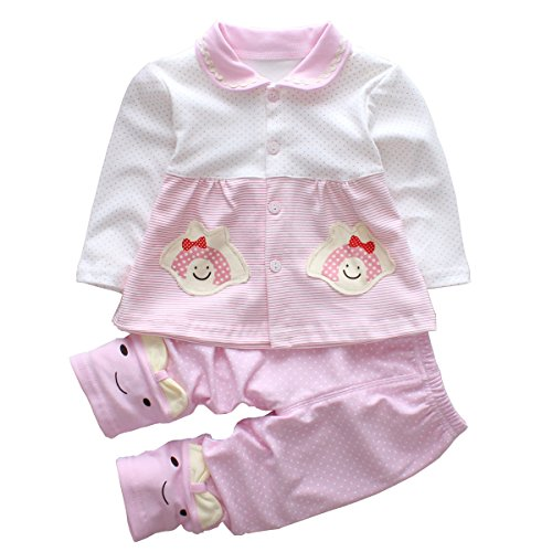2pcs Baby Girl Clothes Set Infant Outfits with Long Sleeve Toddler Shirt + Pants(6M, Pink)