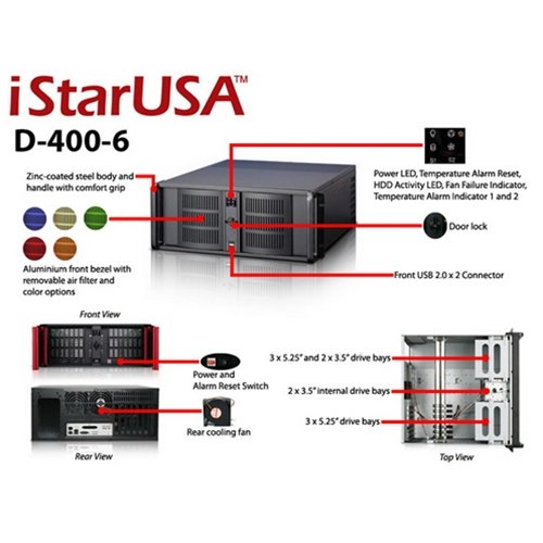 iStarUSA D Storm D-400-6 4U Rackmount Server Chassis with No Power Supply by iStarUSA (Image #5)
