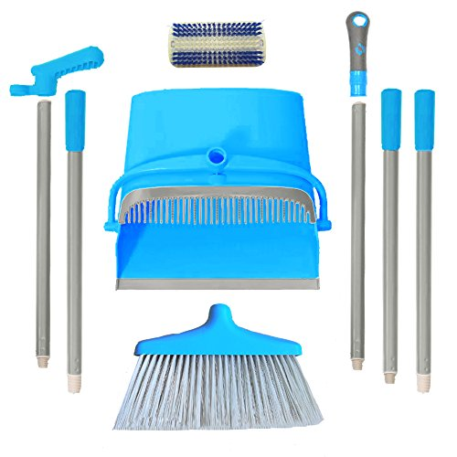 IKU Transmutable in Length Long Handle Broom and Dustpan Set - 3 Poles (48'') & 2 Poles (35.2'') - Indoor Upright Standing Collapsible Lobby Broom for Home Office Kitchen with Hand Scrub Brush(Blue) by IKU (Image #5)