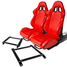 Pair of RST1PVCRD Racing Seats+Mounting Bracket for Mazda Miata w/Bucket Seat